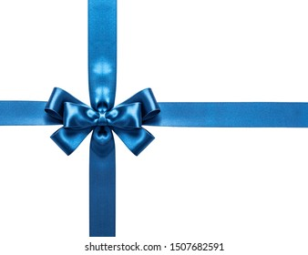 A blue ribbon with a bow on a white background.