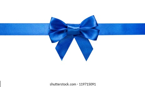 blue ribbon with bow with tails isolated on white background