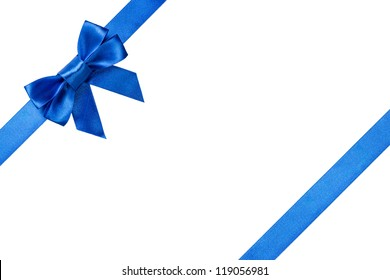 Blue ribbons with bow with tails isolated on white background