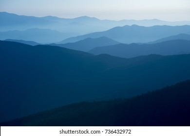 Blue Ridge Mountains colorful graphic sunset orange and yellow layers background blue sky image Smoky Mountain National Park