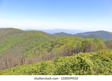 Blue Ridge Mountains on a warm spring day with a clear sky