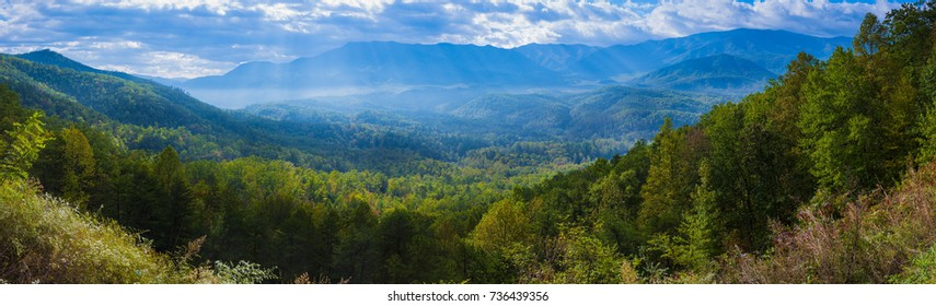Blue Ridge Mountains Smoky Mountain National Park wide horizon landscape background layered hills and valleys large format pano - Shutterstock ID 736439356