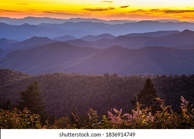Blue Ridge Mountains at sunset seen from the Cowee Mountain Overlook