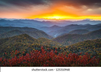 Blue Ridge Parkway Autumn Appalachian Mountains Sunset Western NC Scenic Landscape vacation destination