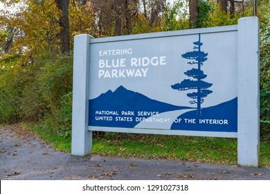 Blue Ridge Parkway Entrance Sign near Waynesboro, Virginia