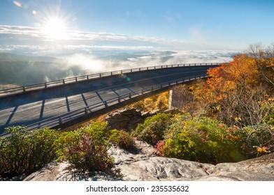 Blue Ridge Parkway Linn Cove Viaduct Autumn Sunrise Scenic