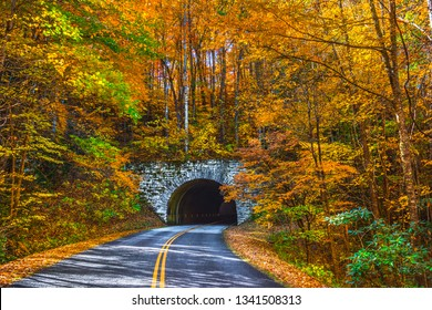 Blue Ridge Parkway Tunnel near Asheville North Carolina during Fall Autumn