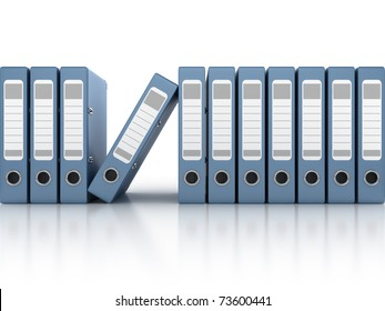 blue ring binders in row isolated on the white background