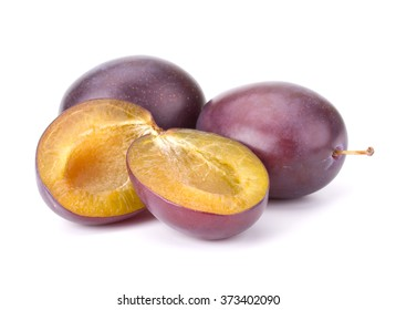Blue ripe Plums isolated on white background