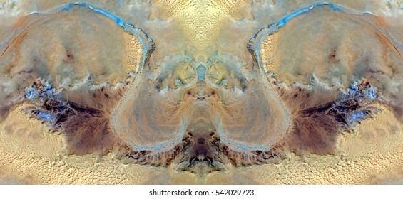 Blue river variations on yellow sulfur sands,Magical photographs, just for crazy, symmetrical, artistic, deserts from Africa from the air, landscapes of your mind, optical illusions