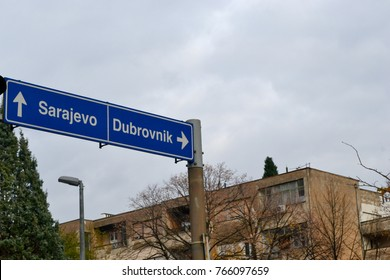 Blue road sign, Sarajevo - Dubrovnik