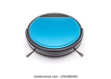 Blue robot vacuum cleaner isolated on white background.