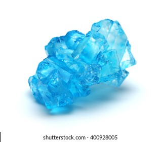 Blue rock candy isolated on a white background