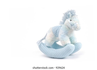 Blue Rocking Horse on White Background
