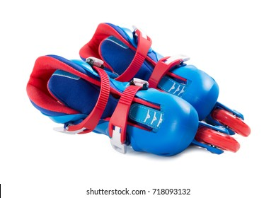 Blue roller skates isolated on white background