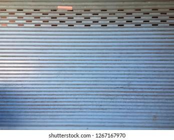 blue rolling steel door
