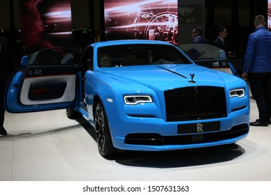 Blue Rolls Royce Phantom in Geneva International Motor Show (GIMS), Geneva Switzerland March 2019. Beautiful luxurious British car. In this photo you can see front of the car. Color image.