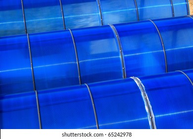 blue roofs polycarbonate close-up
