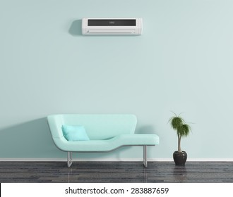 Blue room air conditioning, and sofa.