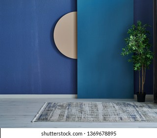 Blue room, interior concept, stone wall and vase of plant with carpet style.