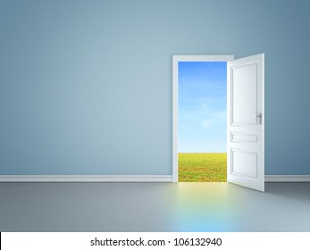 blue room with an open door in field