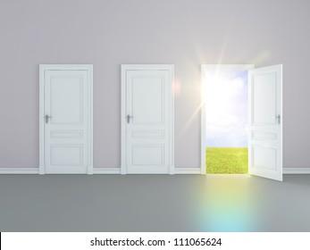 blue room with opened door to field