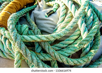 blue rope of a fishing cutter