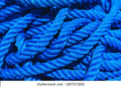 Blue rope polypropylene texture background