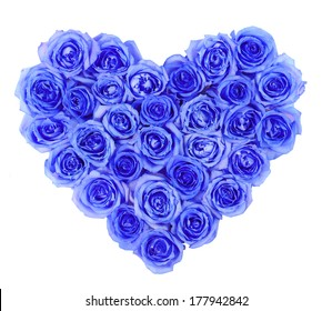 Blue roses in heart shape isolated isolated on white background