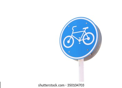 Blue round bicycle sign