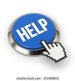 Blue round help button with steel border on white background