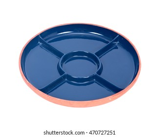 Blue round party ceramic divided serving platter tray