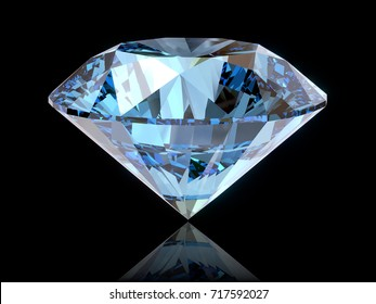Blue round-cut diamond, side view isolated on glossy black background. 3D rendering illustration
