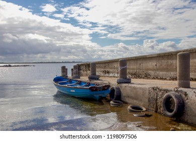 Blue Rowing Boat Anchored on Wooden Pier, Lough Mask, Ireland