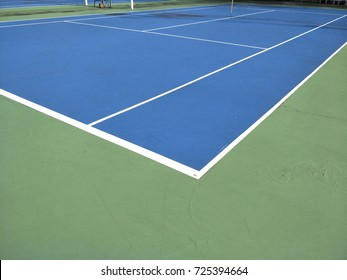 Blue rubber floor and green rubber floor of the tennis court