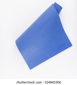 Blue rubber texture material of yoga mat for sport, fitness, exercise, gym and lifestyle equipment on white background.