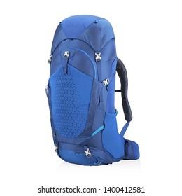 Blue Rucksack Isolated on White Background. Travel Alpine Backpack. Trekking Rucksack. Climbing Bag. Bouldering Day Pack