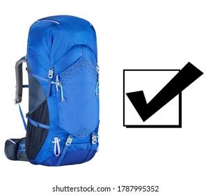 Blue Rucksack Isolated on White Background. Travel Alpine Backpack or Knapsack. Trekking Rucksack. Climbing Backsack. Bouldering Day Pack. Traveler Back Pack. Modern Sports Daypack Bag for Men