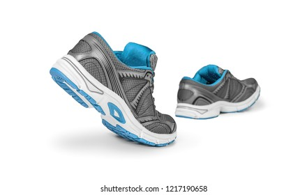 Blue running shoes in motion. Isolated on white background.