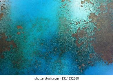 Blue rust metal texture