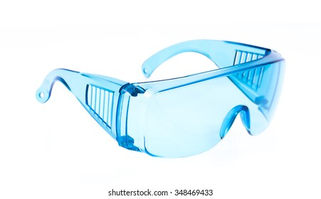 blue safety glasses isolated on white background.