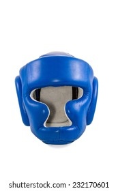 Blue safety helmet boxer closeup front view isolated on white background