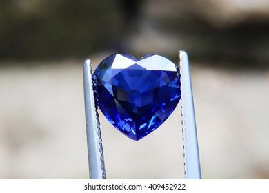 Blue sapphire. A beautiful heart. The heart is blue.