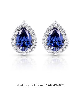 Blue Sapphire and Diamond Earrings ,Pear Cut Sapphire Diamond halo Earrings