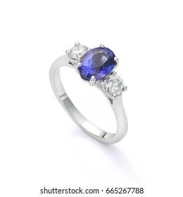 Blue sapphire and diamond ring. Three stone ring set with blue oval sapphire and white diamonds. Silver, Platinum, White Gold engagement ring.