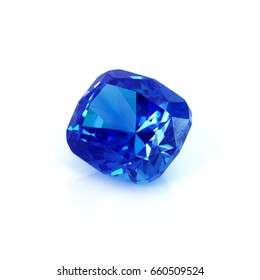 Blue sapphire gemstone isolated on white,tazanite