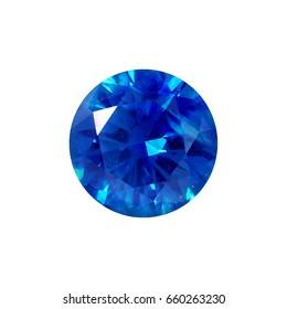 Blue sapphire genstone on white background,isolate,round