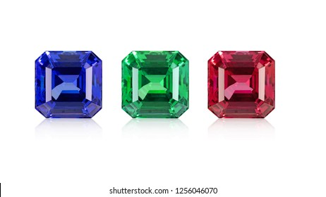 Blue Sapphire ,green emerald,red ruby asscher cut,Square Octagon Jewelry  gems Stones set on white isolate