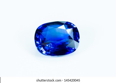 Blue sapphire  isolated on white