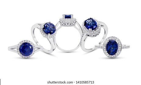 blue sapphire Ring with  Diamond jewelry group on white background isolate